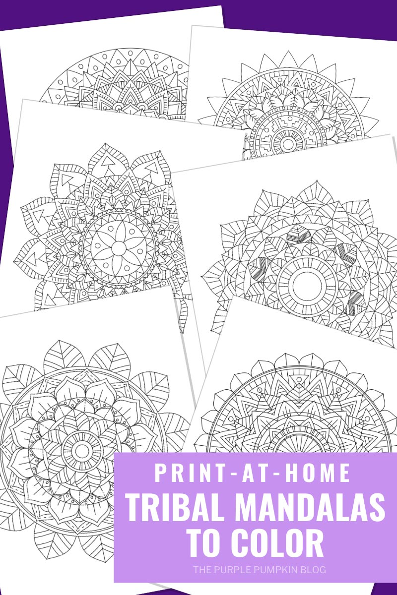 6 Tribal Mandala Coloring Pages (Print-at-Home)