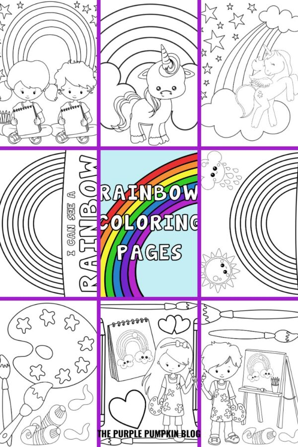 Set of 8 Rainbow Coloring Pages