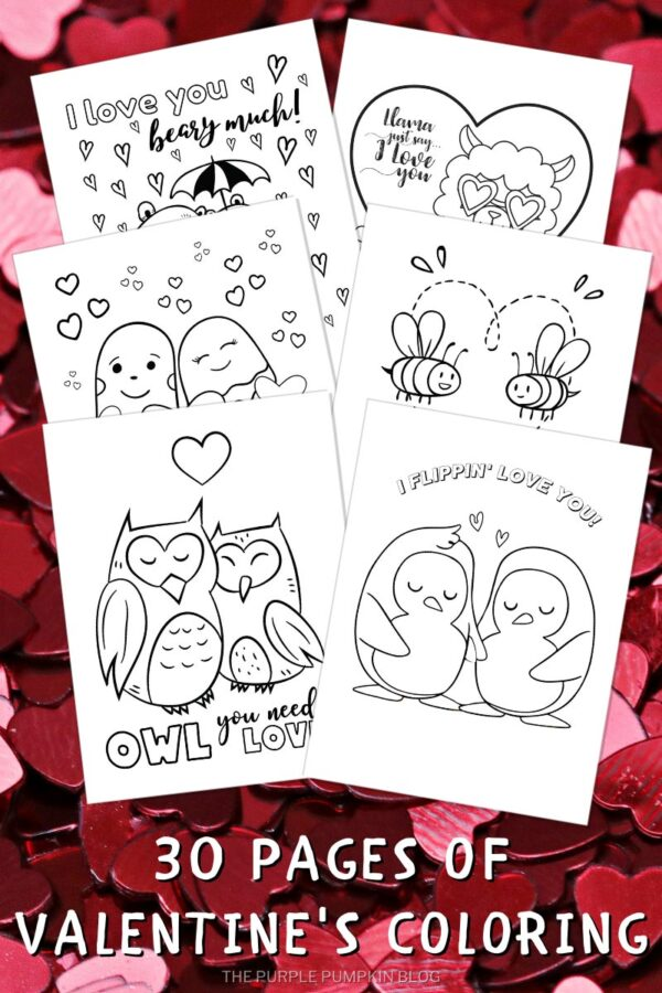 30 Pages of Valentine's Coloring