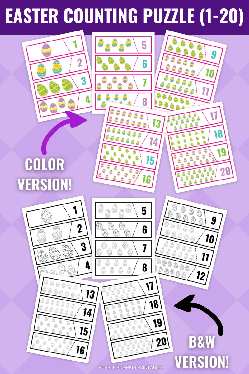 Easter Counting Puzzle Printable