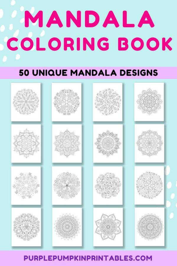 Mandala Coloring Book with 50 Unique Mandala Designs