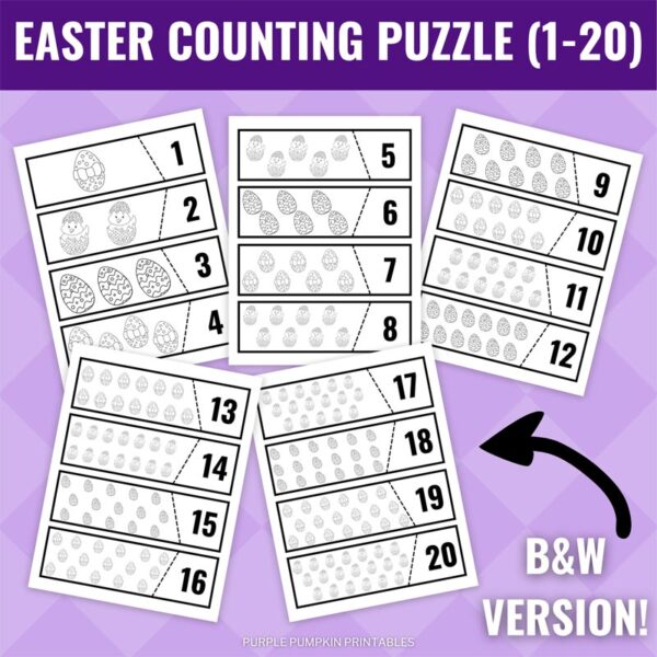 Easter Counting Puzzle Printable - Black & White