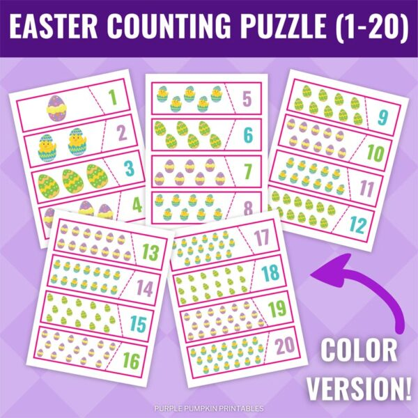 Easter Counting Puzzle Printable - Full Color