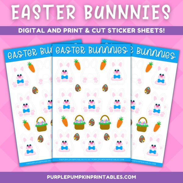 Bow Tie Easter Bunnies Digital & Print and Cut Sticker Sheets