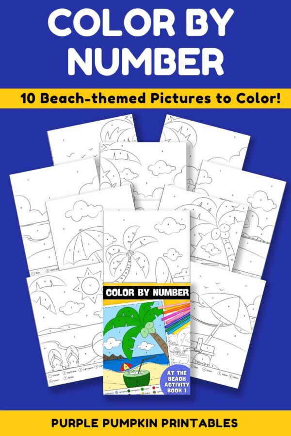 Color By Number Activity Book 1 - At The Beach Pages