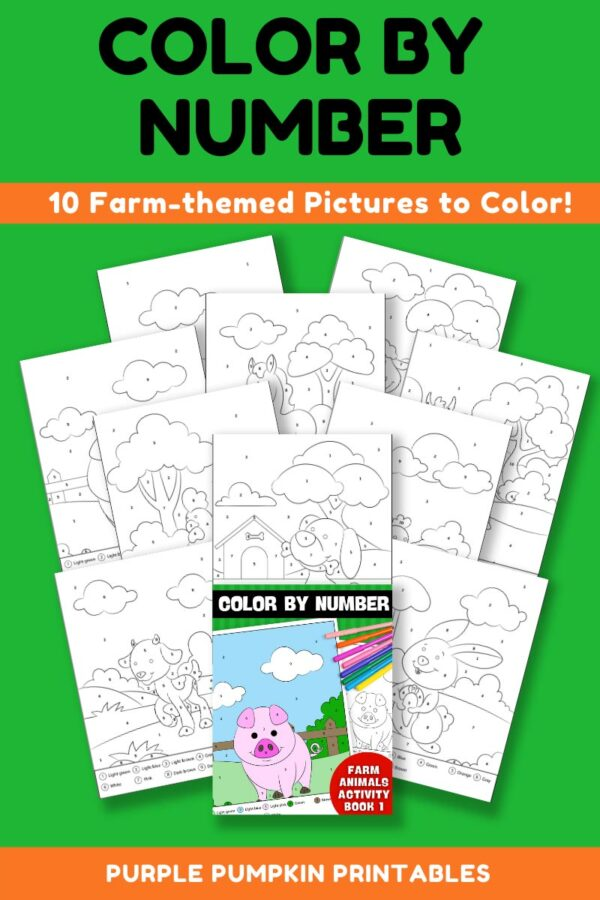 Color By Number Activity Book 1 - Farm Animals Pages