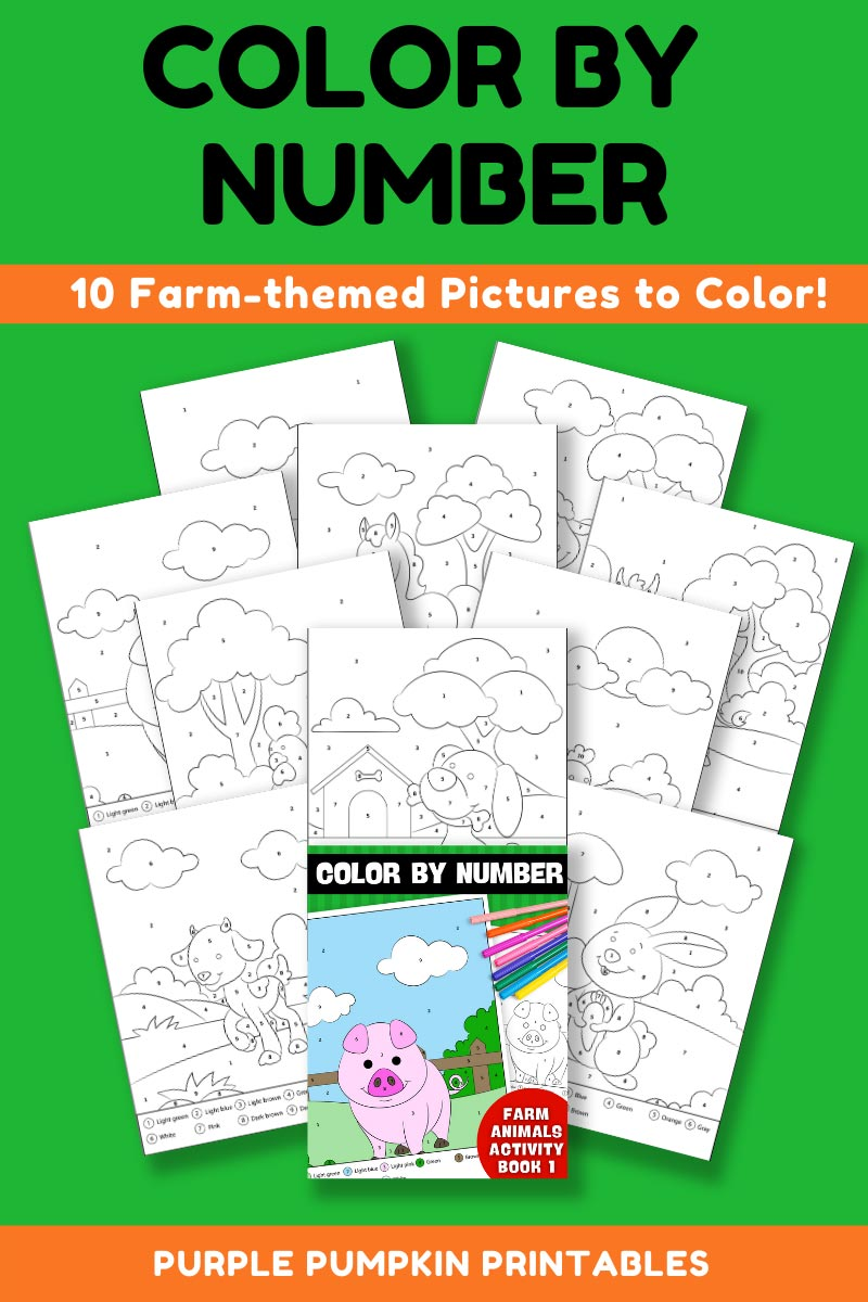 10-Page Color By Number Farm Animals Activity Book 1 (Print-at-Home)