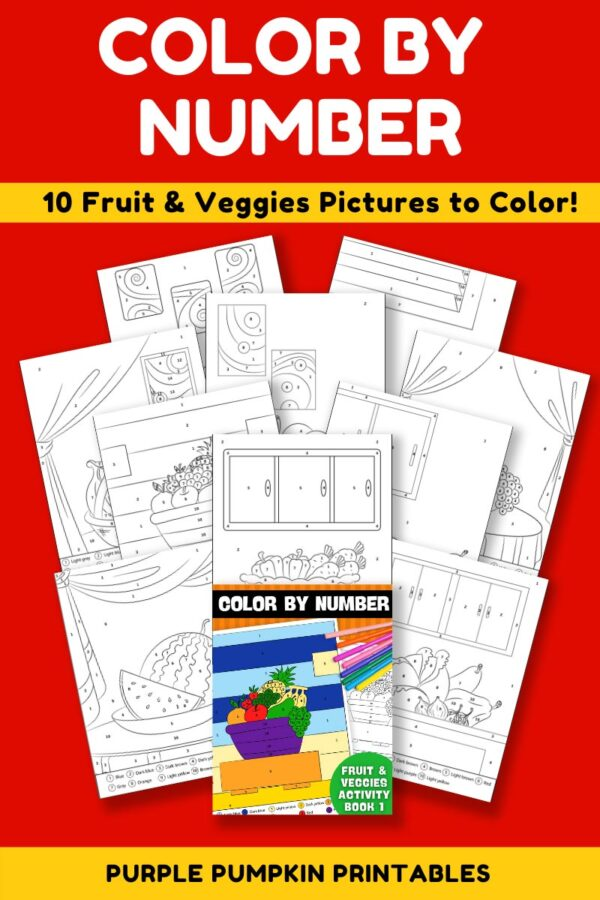 Color By Number Activity Book 1 - Fruit & Veggies Pages