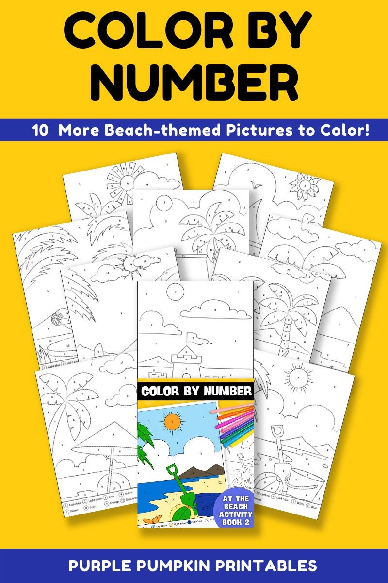 10-Page Color By Number At The Beach Activity Book 2 (Print-at-Home)
