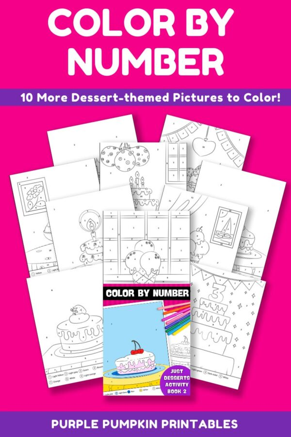 Color By Number Activity Book 2 - Just Desserts Pages