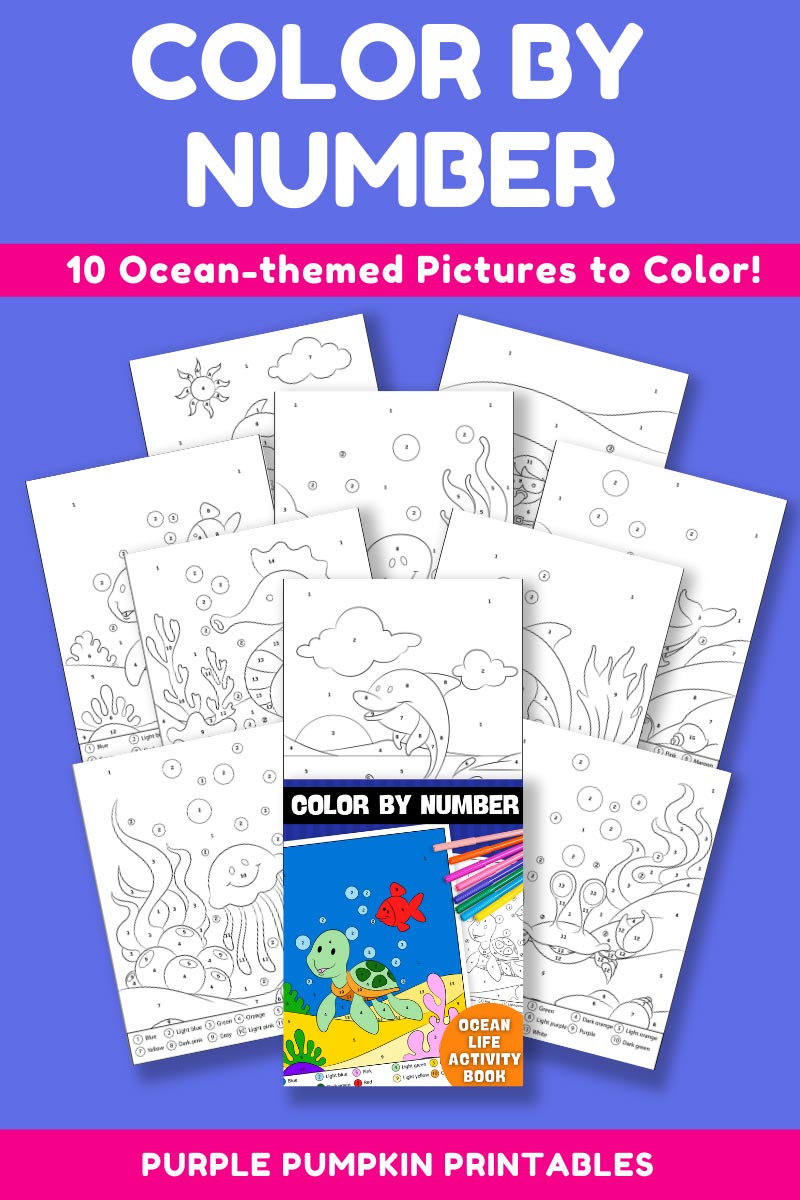 10-Page Color By Number Ocean Life Activity Book (Print-at-Home)