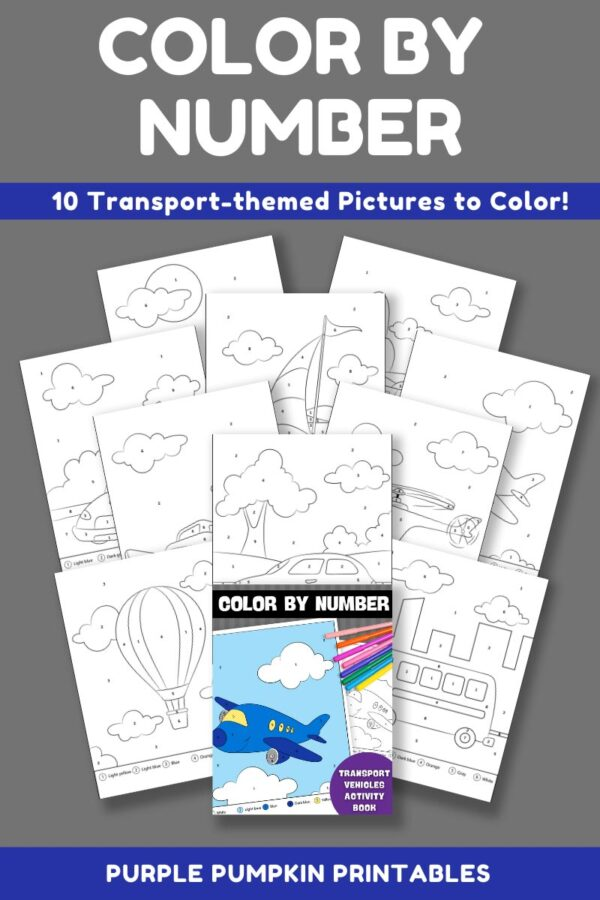 Color By Number Activity Book - Transport & Vehicles Pages