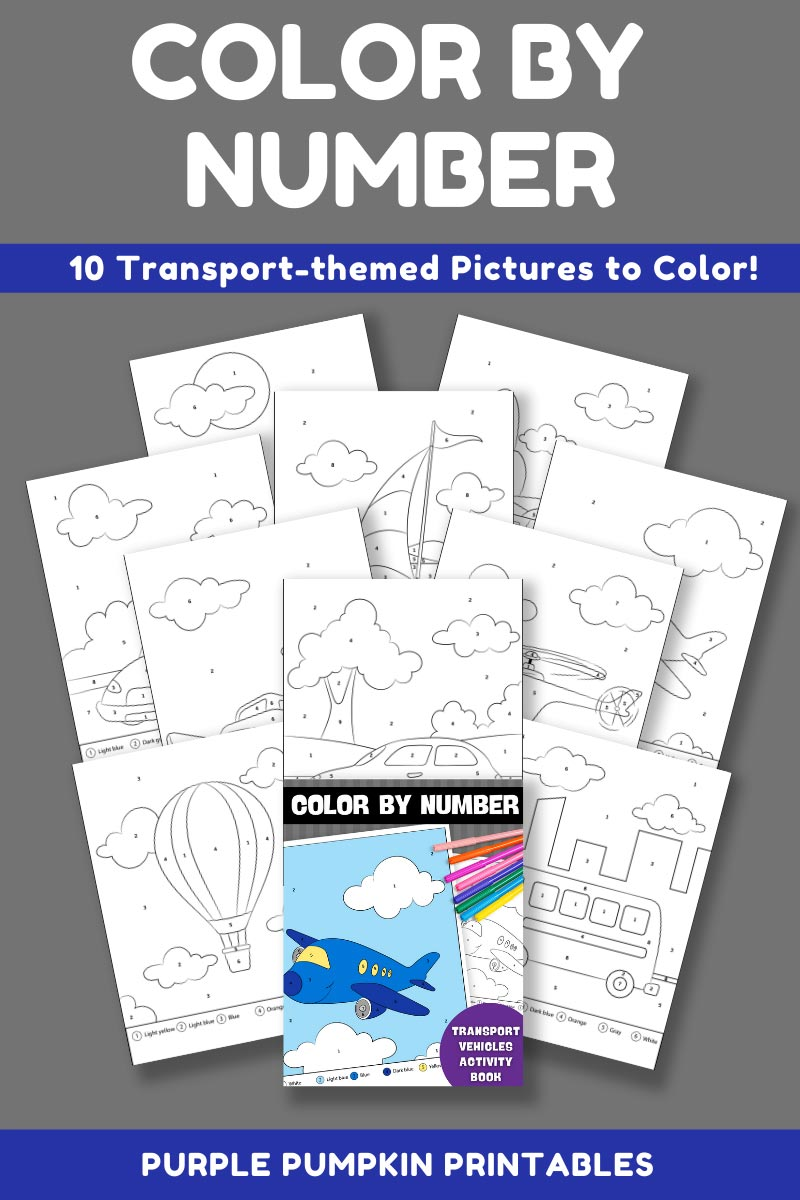 10-Page Color By Number Transport & Vehicles Activity Book (Print-at-Home)