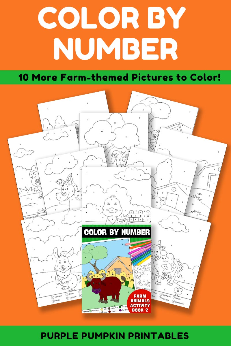 10-Page Color By Number Farm Animals Activity Book 2 (Print-at-Home)