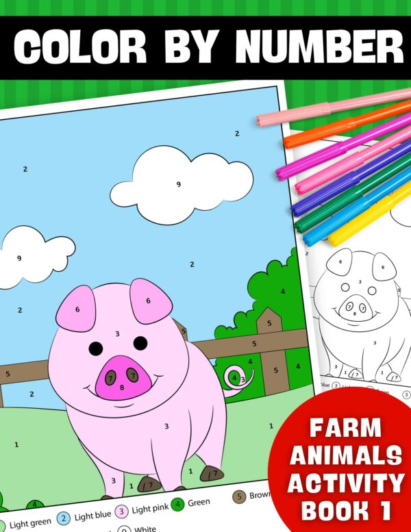 Color By Number Farm Animals Activity Book 1