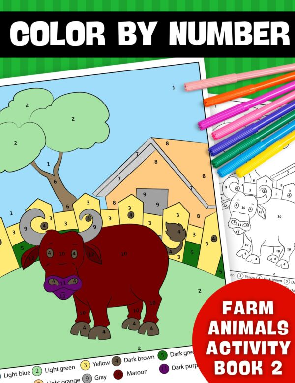 Color By Number Farm Animals Activity Book 2
