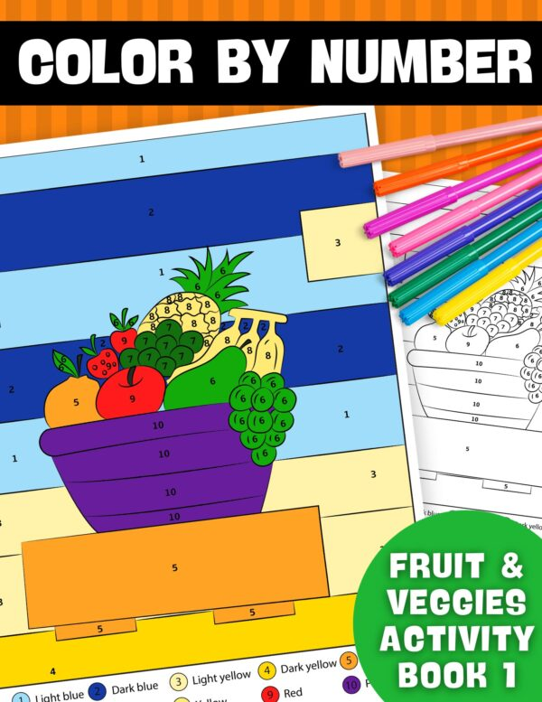 Color By Number Fruit & Veggies Activity Book 1