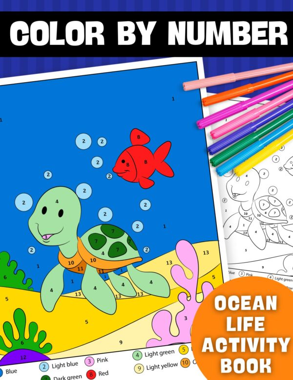 Color By Number Ocean Life Activity Book