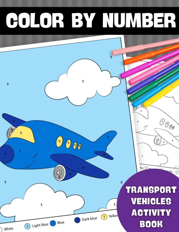Color By Number Transport Vehicles Activity Book