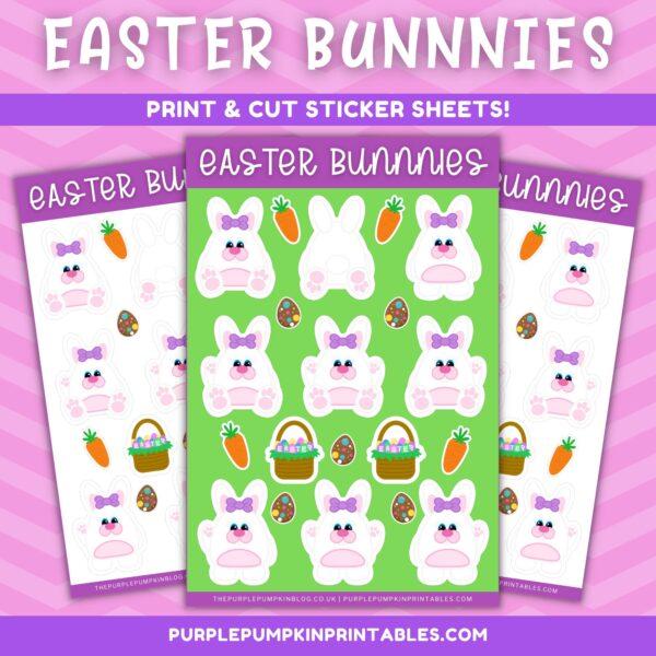 Ear Bow Easter Bunnies Print & Cut Sticker Sheets
