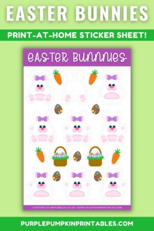 Ear Bow Easter Bunnies Print at Home Sticker Sheet