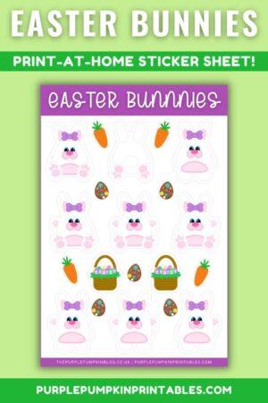 Digital & Printable Girl/Ear Bow Easter Bunnies Sticker Sheet