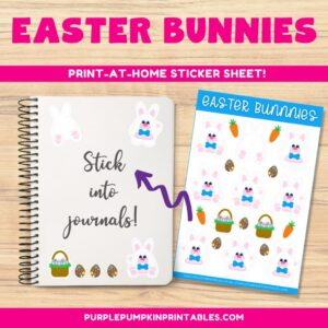 Digital & Printable Boy/Bow Tie Easter Bunnies Sticker Sheet