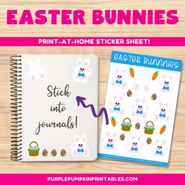 Easter Bow Tie Bunnies Sticker Sheets to Print