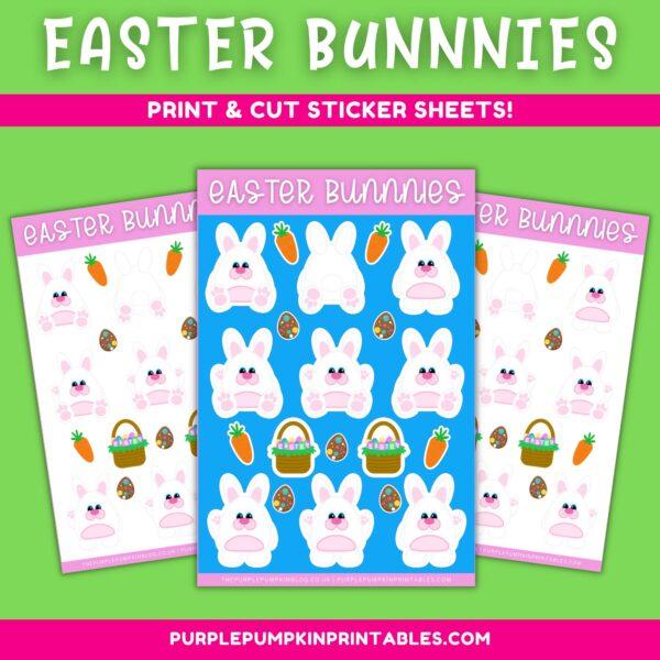 Easter Bunnies Print & Cut Sticker Sheets