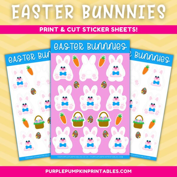 Easter Bunnies Printable Sticker Sheet to Cut