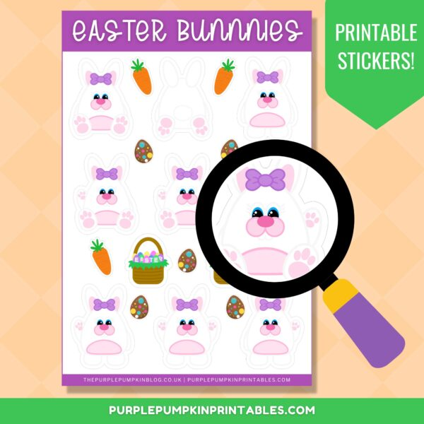 Easter Bunnies Printable Stickers