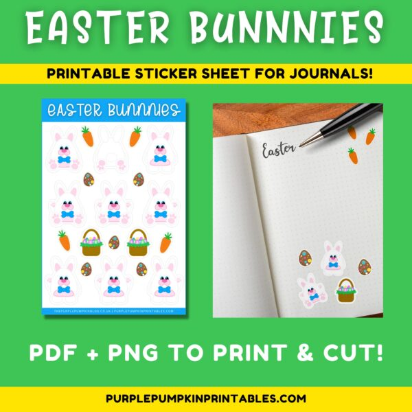 Easter Bunnies Stickers for Journals