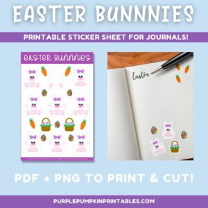 Digital & Printable Girl/Ear Bow Easter Bunnies Sticker Sheet