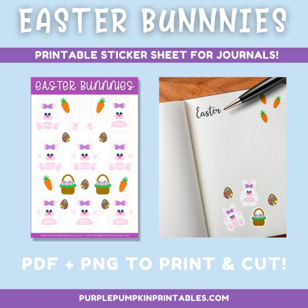 Easter Bunnies Stickers to Print for Journals