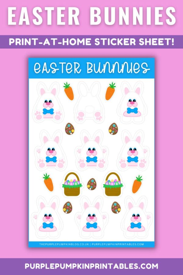 Easter Bunnies with Bow Tie Print at Home Sticker Sheet