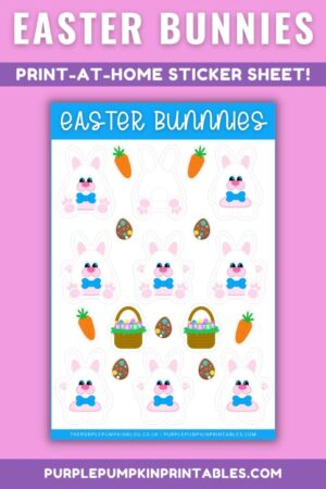 Digital & Printable Boy/Bow Tie Easter Bunnies Sticker Sheet