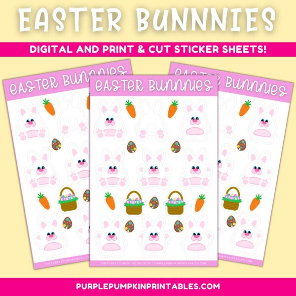 Easter Bunny Digital & Print and Cut Sticker Sheets