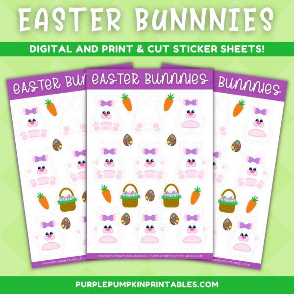 Girl Easter Bunny Sticker Sheet
