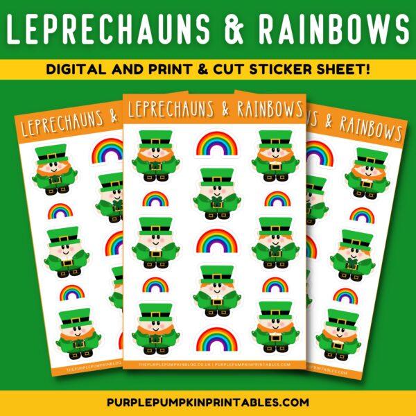 Leprechauns & Rainbows Digital and Print & Cut Sticker Sheet