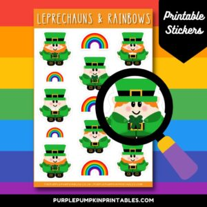 Digital & Printable Leprechauns & Rainbows Sticker Sheet