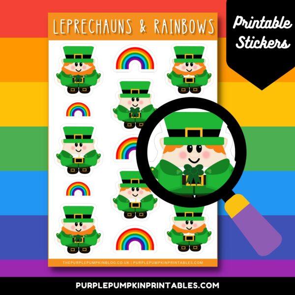 Leprechauns & Rainbows Printable Stickers