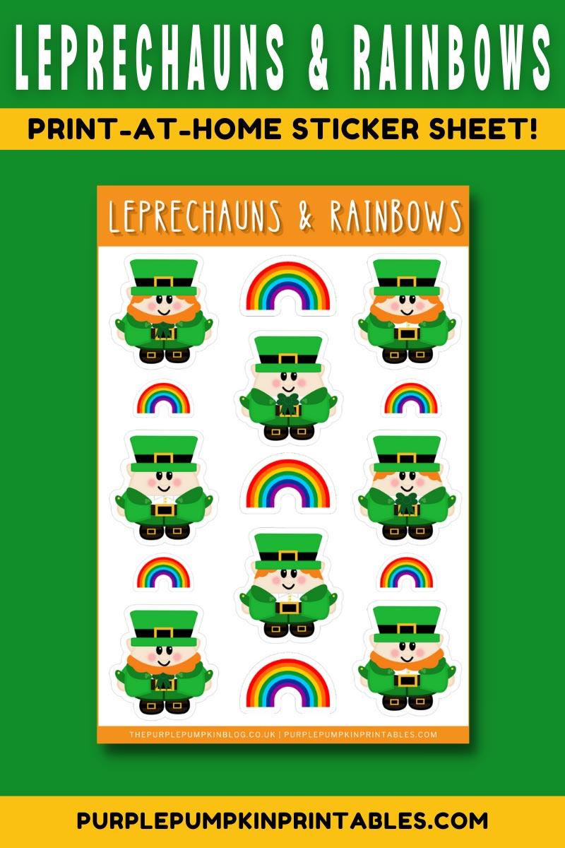 Digital & Printable Leprechauns & Rainbows Sticker Sheet