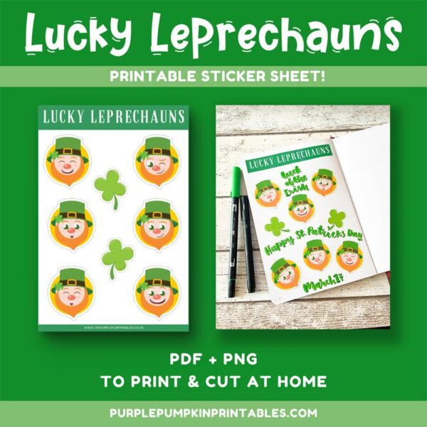 Lucky Leprechauns Printable Sticker Sheet
