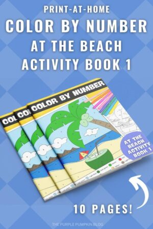 10-Page Color By Number At The Beach Activity Book 1 (Print-at-Home)