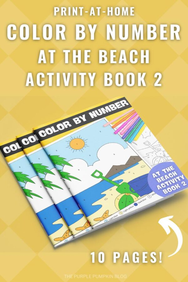 Print-at-Home Color By Number At The Beach Activity Book 2