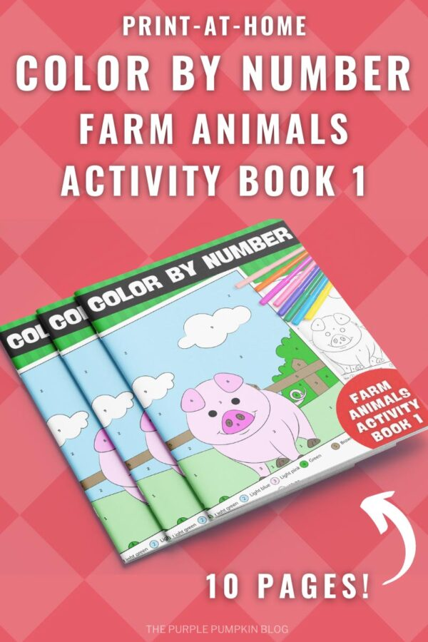 Print-at-Home Color By Number Farm Animals Activity Book 1