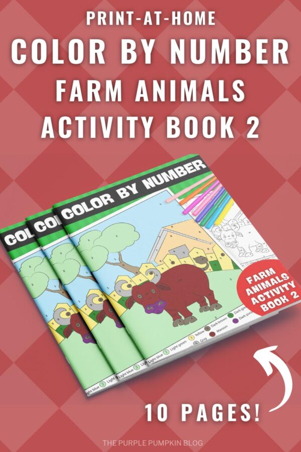 Print-at-Home Color By Number Farm Animals Activity Book 2