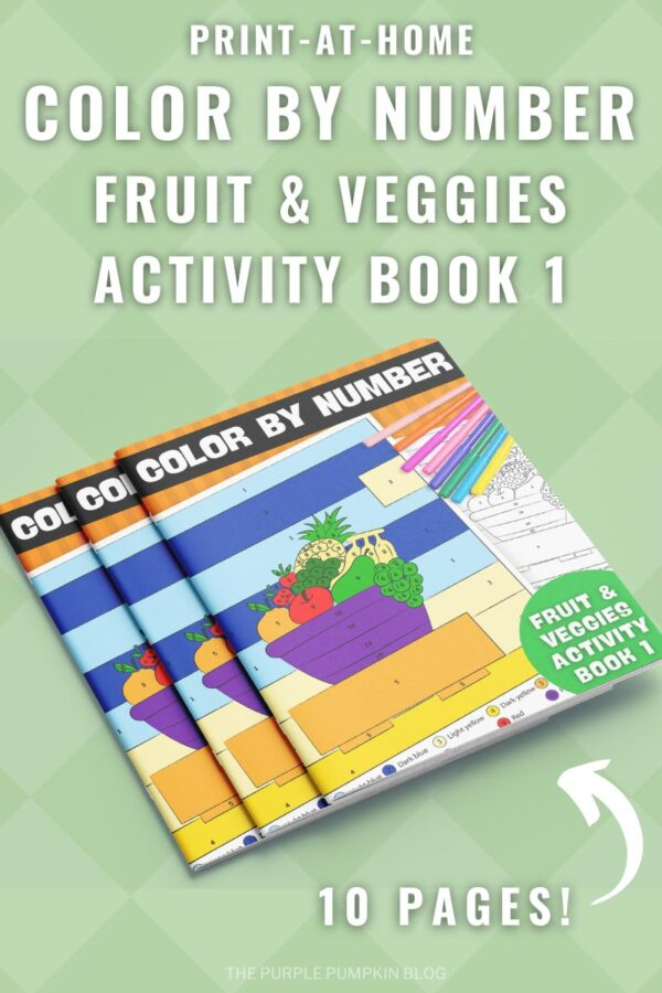 Print-at-Home Color By Number Fruit & Veggies Activity Book 1