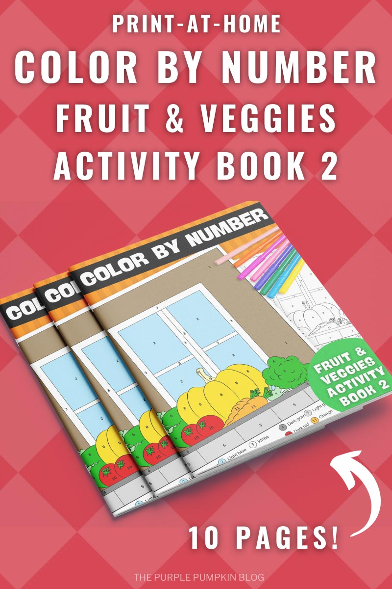 10-Page Color By Number Fruit & Veggies Activity Book 2 (Print-at-Home)