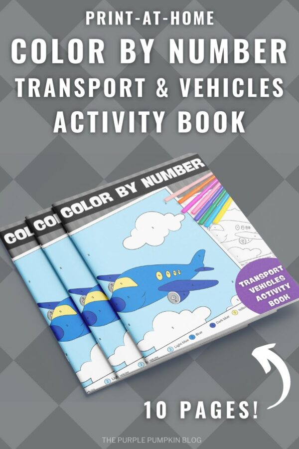 Print-at-Home Color By NumberTransport & Vehicles Activity Book